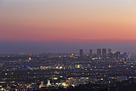 USA, California, Los Angeles, Skyline at sunset - FOF006993