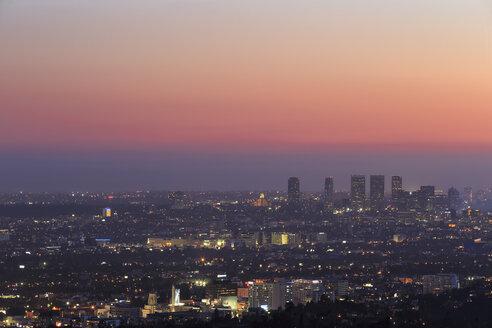USA, California, Los Angeles, Skyline at sunset - FOF006993