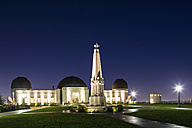 USA, California, Los Angeles, Mount Hollywood, Griffith Observatory and Astronomers Monument, Blue hour - FO007006