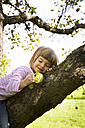 Portrait of smiling little girl sitting on an apple tree with bitten apple - LVF001792
