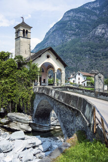 Switzerland, Ticino, Valle Maggia, chucrh of Cevio at Rovana brook - WEF000211