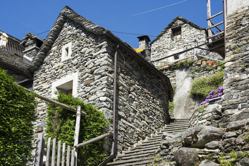 Switzerland, Ticino, Corippo, typical natural stone houses - WEF000213