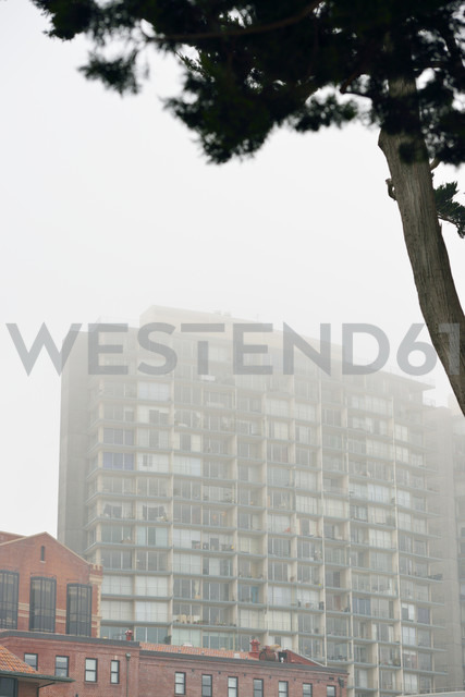 USA, California, San Francisco, high rise building in fog - BRF000751