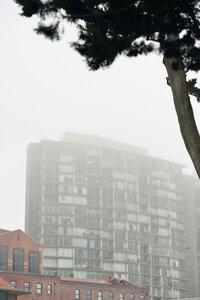 USA, California, San Francisco, high rise building in fog - BRF000751