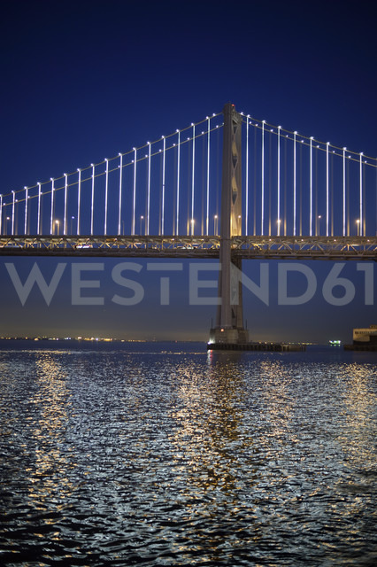 USA, California, San Francisco, Oakland Bay Bridge at night - BRF000774