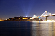 USA, California, San Francisco, Oakland Bay Bridge and Yerba Buena Island at night - BRF000775