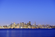 USA, California, San Francisco, skyline of financial district with Transamerica Pyramid in the blue hour - BRF000706