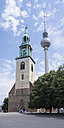 Germany, Berlin, view to St. Mary's Church and television tower at Alexanderplatz - WIF001005
