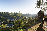 Luxembourg, Luxembourg City, View from Vauban, Fortress of Luxembourg over the Pfaffenthal valley and the district Kirchberg - MS004251