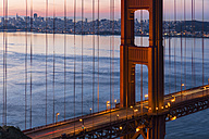USA, California, San Francisco, skyline and Golden Gate Bridge at the blue hour seen from Hawk Hill - FOF007041