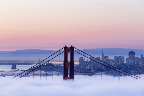 USA, California, San Francisco, skyline and Golden Gate Bridge in fog seen from Hawk Hill - FOF007013