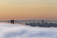 USA, California, San Francisco, skyline and Golden Gate Bridge in fog seen from Hawk Hill - FO007016