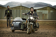 Two men with full beards with motorcycle with sidecar - KOF000007