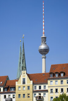Germany, Berlin, buildings in St Nicholas Quarter with church and TV Tower - PSF000627