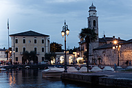 Italy, Lake Garda, Lazise, harbor and church of Saint Nicolo at blue hour - SARF000816