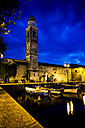 Italy, Lake Garda, Lazise, harbor and church of Saint Nicolo at blue hour - SARF000845