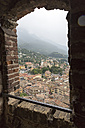Italy, Malcesine, Castello Scaligero, view from belfry window - SARF000823