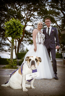 Happy bridal couple with English Bulldog in the foreground - MABF000241