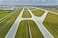 Germany, Bavaria, Munich, aerial view of runway at Munich airport - KD000010