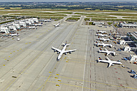 Germany, Bavaria, Munich, aerial view of planes at Munich airport - KD000011