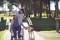 Woman with man in wheelchair and dog in park - ZEF000395
