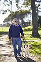 Visually impaired man walking with his guide dog in a park - ZEF000986