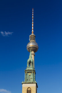 Germany, Berlin, view to television tower with St. Mary's Church in the foreground - KRPF001130