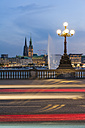 Germany, Hamburg, Inner Alster Lake, view from the Lombard bridge in the evening - RJ000282