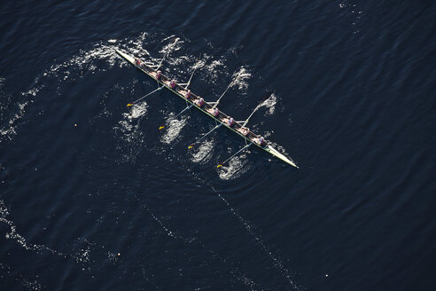 Elevated view of rowing eight in water - ZEF000455
