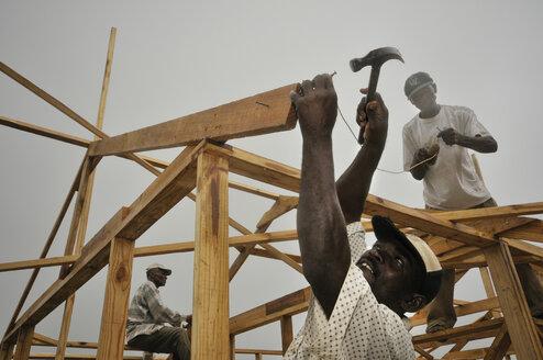 Haiti, Coq Chante near Jacmel, Villagers rebuilding frame houses after 2010 earthquake - FLK000452