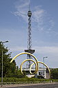 Germany, Berlin, Westend, view to radio tower and exhibition hall with sculpture in the foreground - WI001061