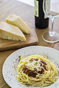 Spaghetti Bolognese with grated Parmesan cheese - ABAF001485