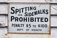New Zealand, South Island, Ross, old prohibition sign on wooden facade - WV000718