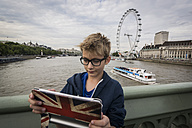 UK, London, boy taking a selfie with his digital tablet - PAF000949