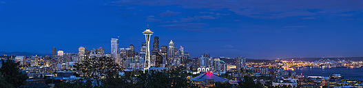 USA, Washington State, skyline of Seattle with Space Needle and Puget Sound at blue hour - FOF007109
