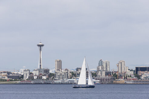 USA, Washington State, Puget Sound and skyline of Seattle with Space Needle - FOF007111