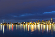 USA, Washington State, Puget Sound and skyline of Seattle with Space Needle at blue hour - FOF007115