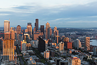 USA, Washington State, Seattle, Cityscape in the evening light - FOF007125