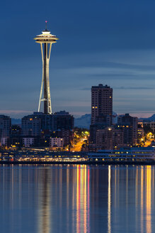 USA, Washington State, Puget Sound and skyline of Seattle with Space Needle at blue hour - FO007118