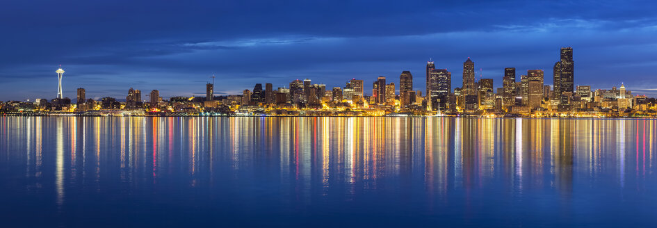 USA, Washington State, Puget Sound and skyline of Seattle with Space Needle at blue hour - FOF007120