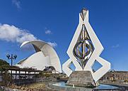 Spain, Canary Islands, Tenerife, Santa Cruz de Tenerife, Wind Chime Sculpture by Cesar Manrique, Auditorio de Tenerife in the background - MAB000253