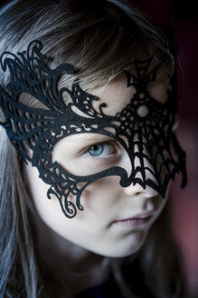 Portrait of girl wearing black  Halloween mask - SARF000840
