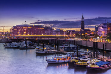 Germany, Hamburg, Inner Habour and St. Michaelis church during sunset - NKF000180