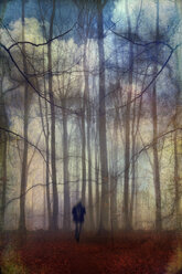 Man walking through fantastic forest landscape - DWI000213
