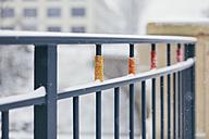 Germany, Saxony, Leipzig, railing with knitwear art - DWF000172