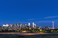 USA, Colorado, Denver, Cityscape and Interstate Highway in the evening - FOF007195