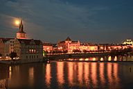 Czechia, Prague, view to Smetana Museum formerly water works at Vitava by full moon - WGF000465