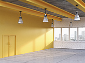 Empty loft with yellow wall, 3D Rendering - UWF000195