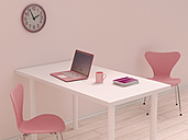 Pink home office, 3D Rendering - UW000198