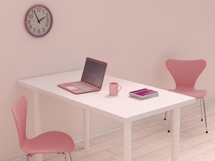 Pink home office, 3D Rendering - UW000198